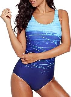 CILKOO Women's Athletic Training Gradient Criss Cross Back One Piece Swimsuit Swimwear Bathing Suit