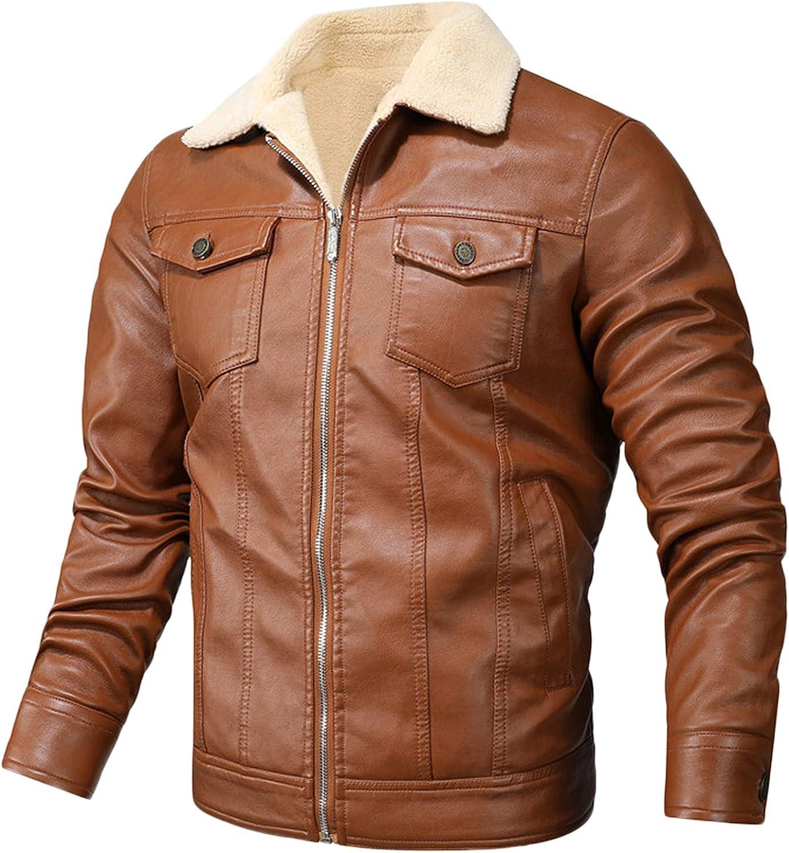 Leather Jackets for Men, Faux Motorcycle Lapel Asymmetric Slim Fit Biker Coat Outwear