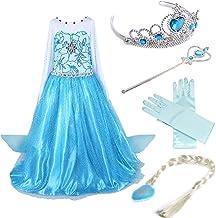 Timesun® Mädchen Prinzessin Schneeflocke Süßer Ausschnitt Kleid Kostüme mit Diadem, Handschuhen, Zauberstab und Zopf, Gr. ...