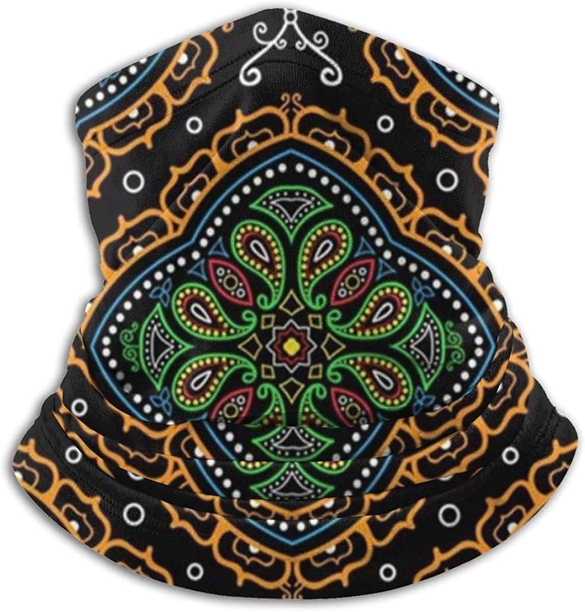 Lastbest Ornate Traditional Oriental Vintage Neck Warmer Multifunction Scarf Hat Neck Gaiter Neck Cap Bala Windproof Neck Heating Wrap Outdoor Sports