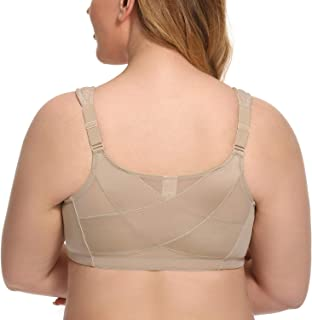 Exclare Women's Front Closure Full Coverage Wirefree Posture Back Everyday Bra(48D, Beige)