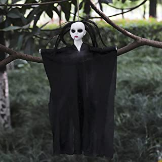 Halloween Decorations Outdoor Indoor Hanging Grim Reaper Ghost Hanging Skeleton Bloody Witch Hangman Female Ghost in Blac...