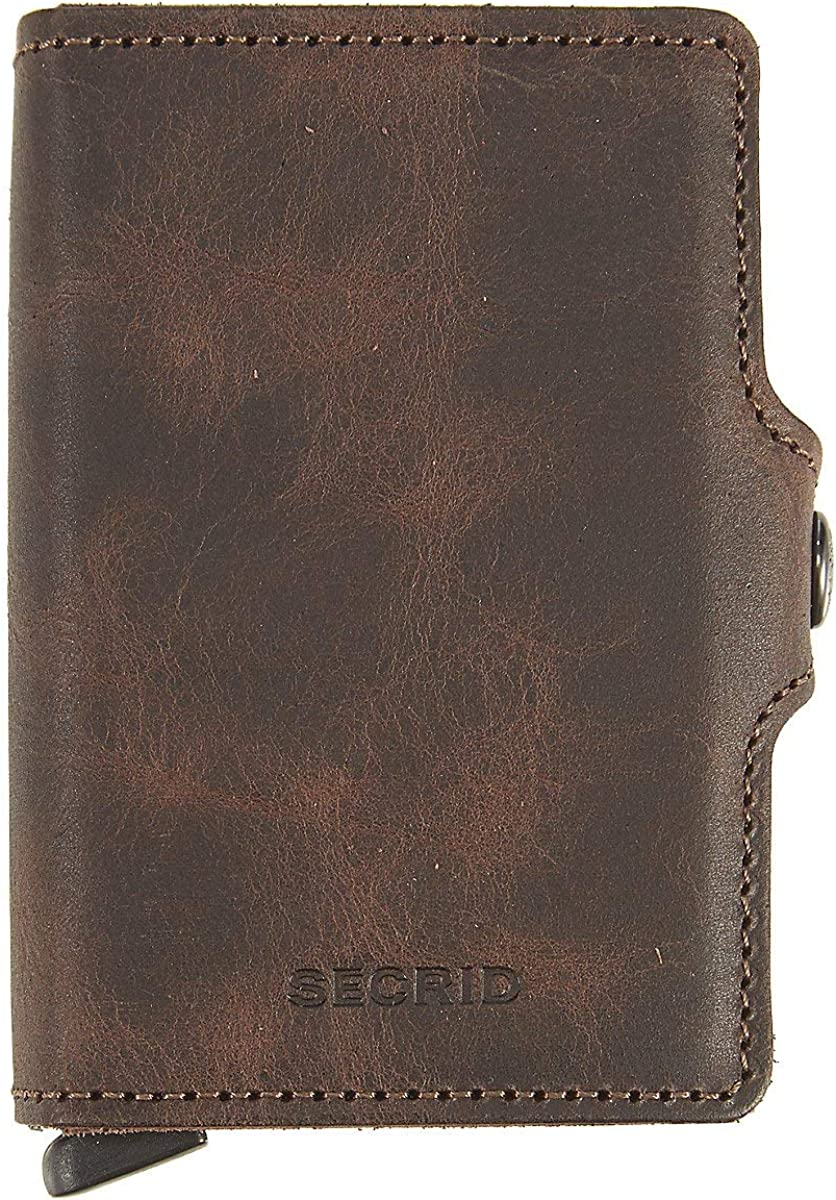 Secrid Twin wallet leather, Credit Card Wallet/with RFID protection, Brown, 24mm slim