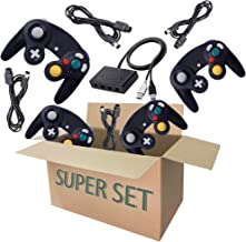 Gamecube Controller Series Accessories Bundle, Includes 4 Gamecube Controller, 4 Extension Cords and a Gamecube Adapter for Nintendo Wii U/Switch/PC - Suit 1