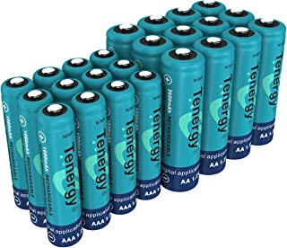 Tenergy High Drain AA and AAA Battery, 1.2V Rechargeable NiMH Batteries Combo, 12-Pack 2600mAh AA Cells and 12-Pack 1000mAH AAA Cell Batteries
