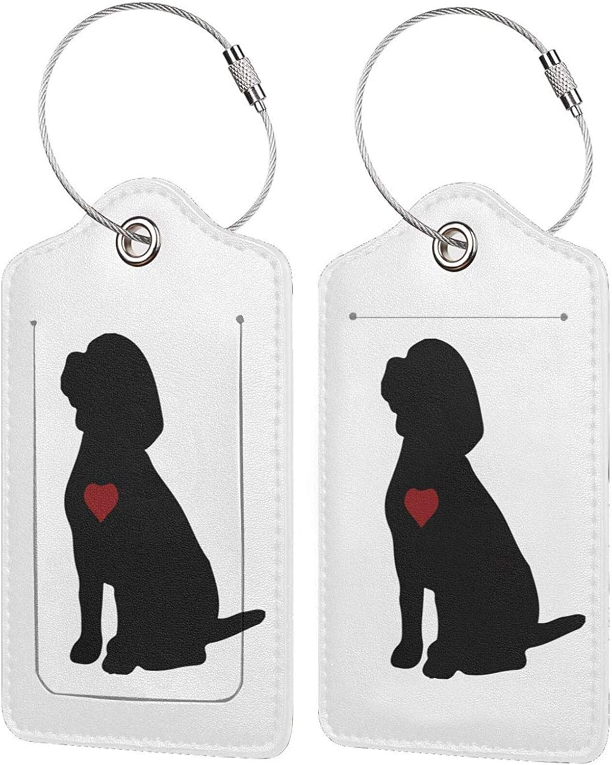 Beagle Puppy Dog Silhouette PU Ful Leather Max 55% OFF Baggage Inexpensive tag Rectangle