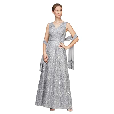Alex Evenings Long Embroidered Sleeveless V-Neck Dress (Silver) Women