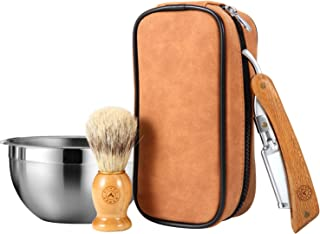 Straight Razor Wood Shavette Kit with Leather Case, Brush and Bowl, Perfect Travel Kit