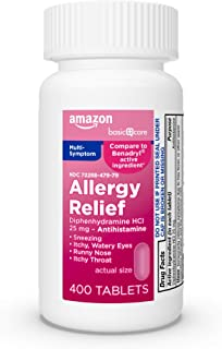 Amazon Basic Care Allergy Relief Diphenhydramine HCl 25 mg, Antihistamine Tablets for Symptoms Due to Hay Fever and Upper ...