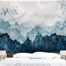Riyidecor Mountain Tapestry Watercolor Surface 60x80 Inch Blue Painting Sky Misty Landscape Nature Abstract Wall Hanging Adults Dorm Decor Bedroom Living Room