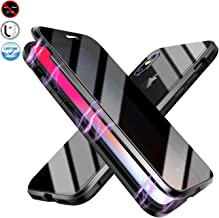 Anti-peep Magnetic Case for iPhone XsMax,Anti Peeping Magnetic Adsorption Double-Sided Privacy Screen Protector Clear Back Metal Bumper Antipeep Anti-Spy Phone Cases Cover for iPhone XsMax-Black