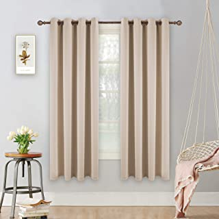 YGO Thermal Insulated Blackout 72 Inch Long Beige Curtain Panels Pair Nickel Grommet Window Drapes for Bedroom Living Room Beige Set of 2
