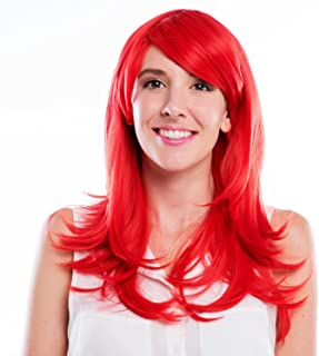 MelodySusie Red Mid length Curly Wig for Women,28 inches Synthetic Hair Replacements Wigs with Side Blunt Bangs Daily Halloween Cosplay Costume Wig with Free Wig Cap,Red