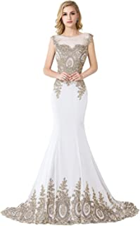 6531abdd2722 MisShow Women s Embroidery Lace Long Mermaid Formal Evening Prom Dresses