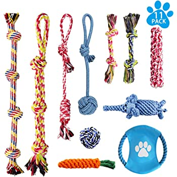 LOUTAN Dog Rope Toys for Aggressive Chewers Durable Tough Large Dog Chew Toys - Indestructible Small Dog & Puppy Teething Toys with 100% Washable Cotton Set of 11