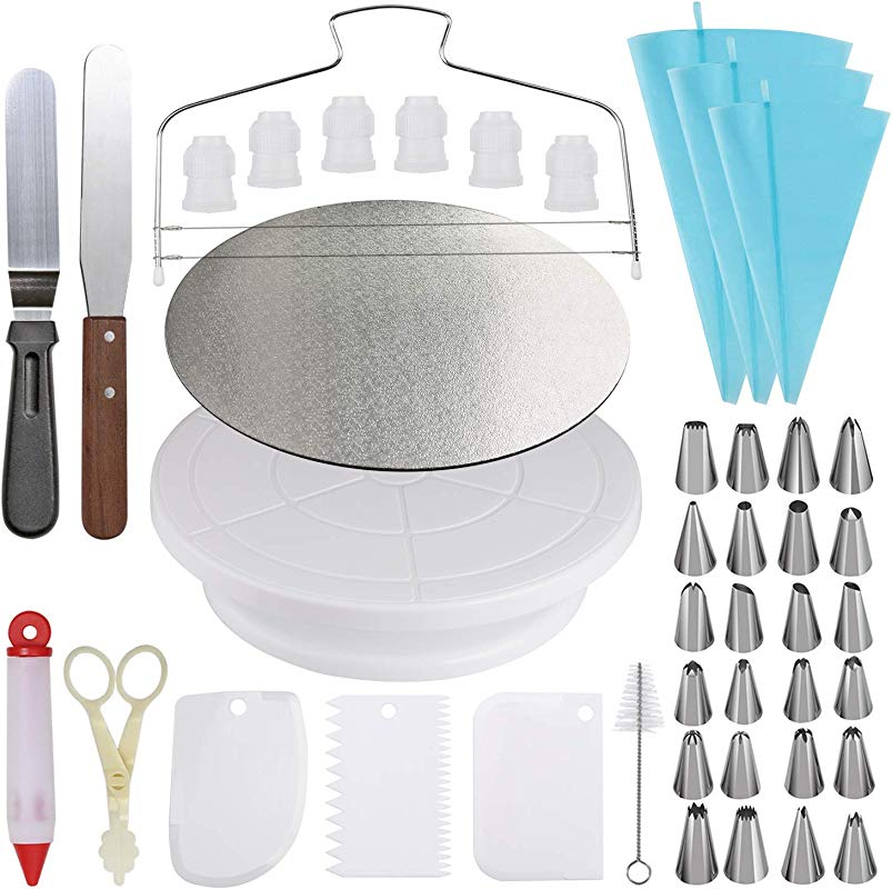 Cake Decorating Kit Cake Turntable And 10 Inch Cake Board 2 Icing Spatula 3 Cake Scrapers Cake Brush Cake Flower Lifter Cake Pen 3 Pastry Bags 24 Stainless Icing Tip 6 Piping Tip Couplers
