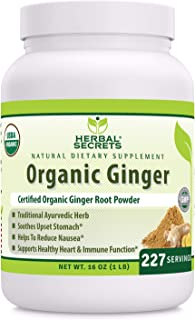 Herbal Secrets USDA Certified Organic Ginger Powder 16 oz (Non-GMO) Gluten- Free -Supports Healthy Heart & Immune Functions * Helps to Reduce Nausea* Soothes Upset Stomach*