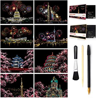 Scratch & Sketch Art Paper A4 for Kids & Adults, Rainbow Painting Night View Art&Craft, Engraving Art Set: 8 Sheets Scratch Cards & Scratch Drawing Pen, Clean Brush (Fireworks/Cherry blossoms) (8PACK)