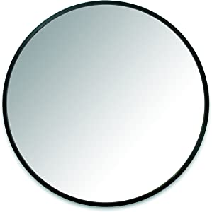 "Umbra Hub 37"" Round Wall Mirror with Rubber Frame, Modern Room Decor for Entryways, Washrooms, Living Rooms and More, Black"