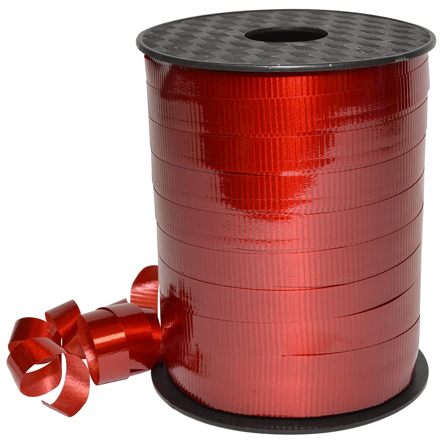 Morex Ribbon Polypropylene, 3/8 inch by 250 Yards, Red, Item 18310/250-609 Lucky Glossy Curling Ribbon, 3/8