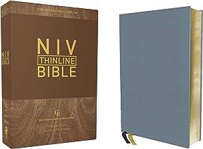 NIV, Thinline Bible, Genuine Leather, Buffalo, Blue, Red Letter, Art Gilded Edges, Comfort Print