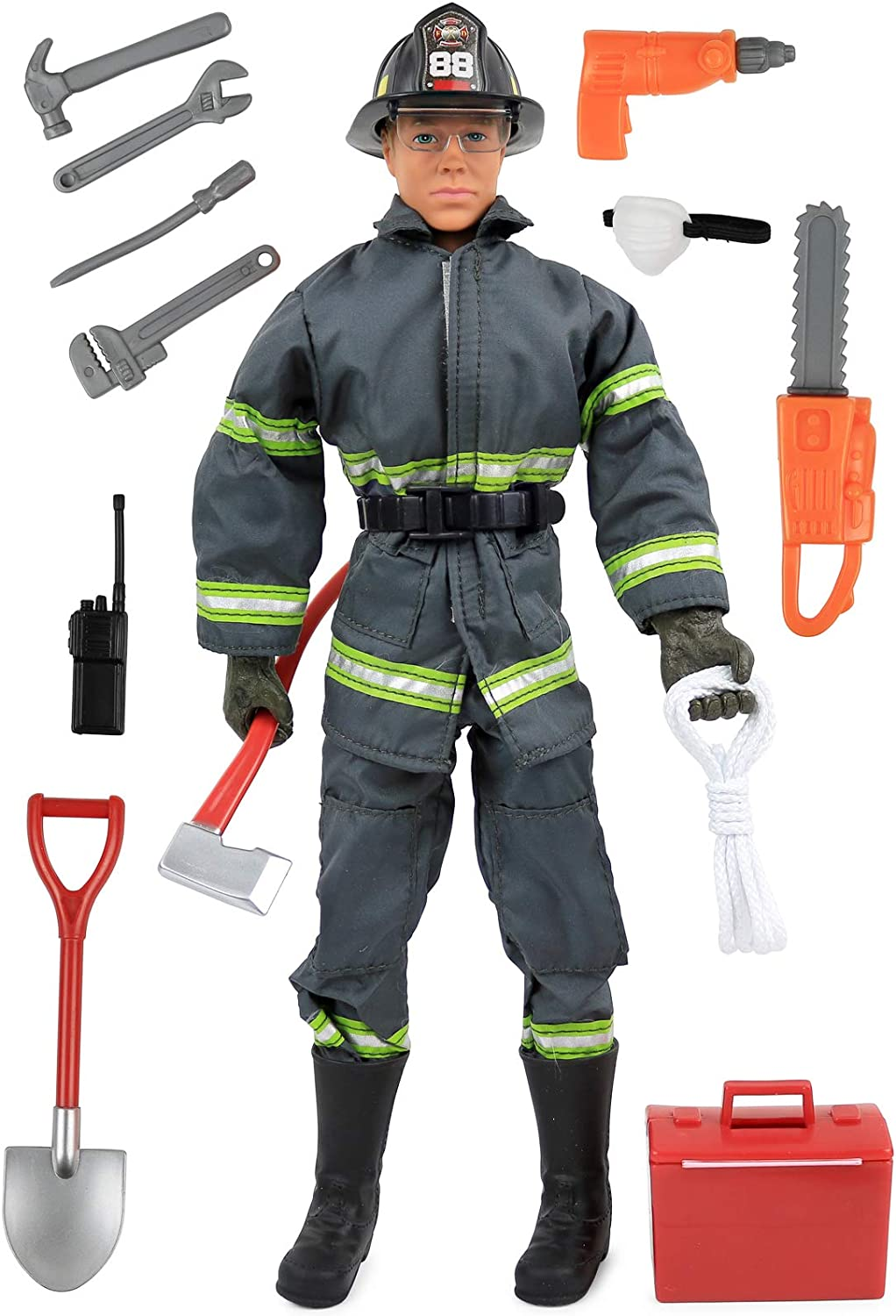 Click N' Play CNP30633 Search & Rescue Firefighter 12   Action Figure Play Set with Accessories, 12 inches, Brown A