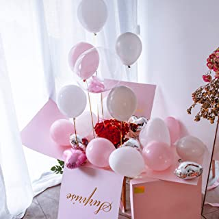 Large Gift Box Surprise - Explosion Gift Box 19x19x19'' with Lid and Ribbon, 12'' Heart Shaped Balloons and Latex Balloons, Surprise Box for Birthday, Christmas, Party, Marriage Proposals – Pink