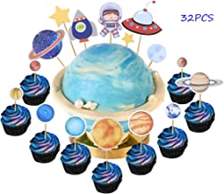 Set of 32 Astronaut Exploration Cupcake Toppers Space Theme Cupcake Picks Baby Shower Birthday Party Decoration Supplies