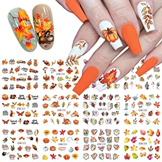 Fall Nail Art Stickers, Autumn Nail Art Water Decals Transfer Nail Supplies Maple Leaves Turkey Pumpkin Design Sticker for...