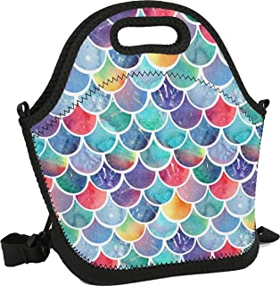 Women&Men&Kids Mermaid Lunch Bag Soft Tote Bag Insulated Lunch Box Shoulder Strap Leak-Proof Lunch Organizer for Picnic/Boating/Beach/Fishing/Work (rainbow watercolour fish mermaid scales)