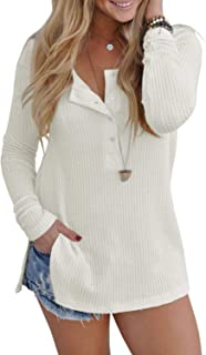 4b833823761211 Inorin Womens Henley Shirts Fall Button Down Pullover Waffle Long Sleeve  Loose Fit Jumper Tops