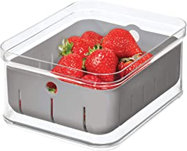 iDesign Crisp Plastic Refrigerator and Pantry Modular Bin with Removable Inner Basket Perfect for Washing Berries, Fruit, Vegetables, BPA Free, 8.32