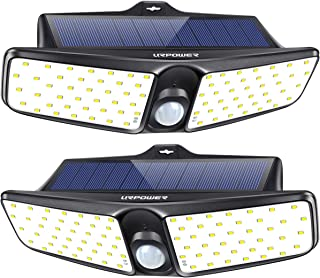 URPOWER Solar Lights Outdoor, Upgraded Two-Sided Illumination 80 LED Solar Lights Waterproof Wireless Security Solar Motion Sensor Light Outdoor Wall Light for Driveway Step Stair Pool Patio 2 Pack