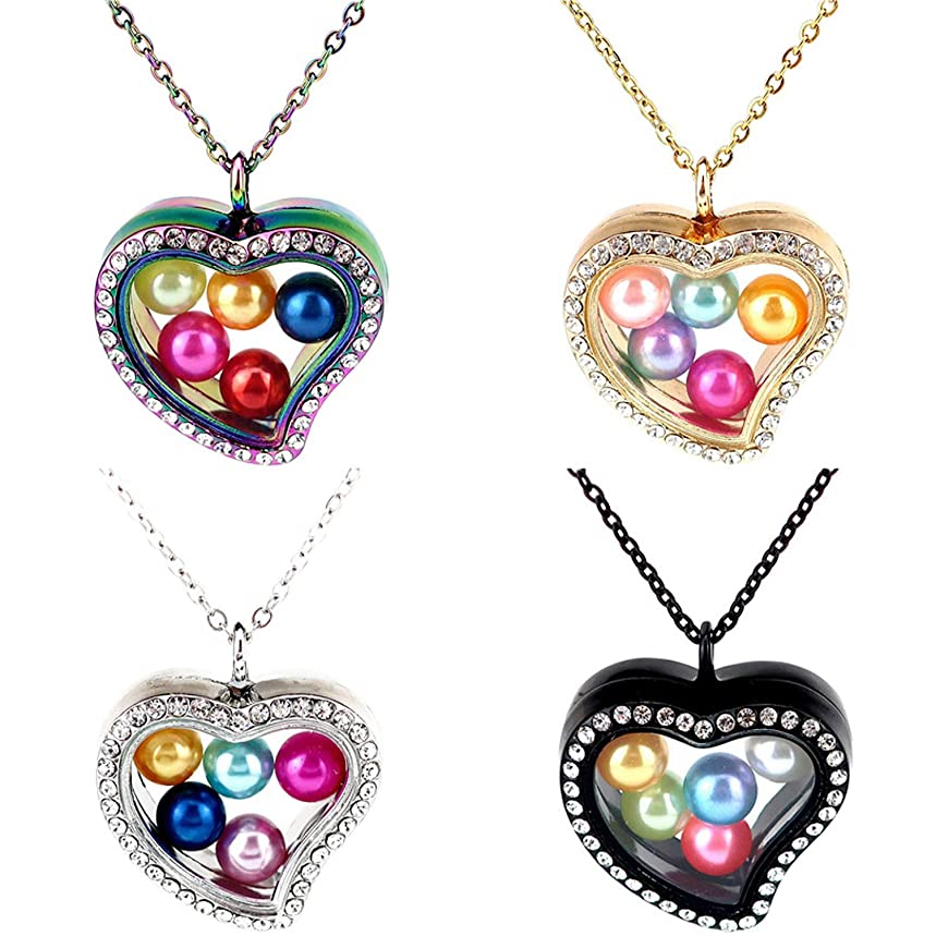Dainashi 4pcs Colors Zircon Crystal Love Heart Glass Pearl Cages Locket Pendant Necklace with Chain Pearl Oyster Charms (4pcs Heart)