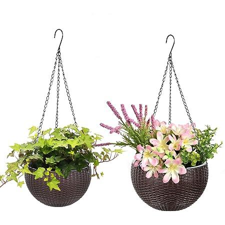 Rattan Plaited Hanging Plant Flower Grow Pot Plastic Garden Balcony Basket Plant