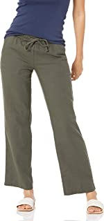 Amazon Essentials Pantalón de Pierna Ancha con cordón de Mezcla de Lino Mujer