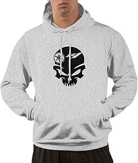 SHENGN Man's Fashion Yamaha Motorsports R1 Skull Logo Sweater Gray