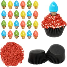 Stranger Things Cupcake Kit - Set Includes 24 Light Bulb Topper Rings, Baking Liners, and Red Sprinkles