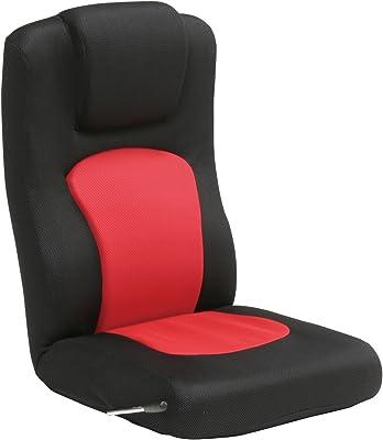 タマリビング(Tamaliving) コローリ 座椅子 無段階リクライニング ハイバック レッド/ブラック [完成品] 50000201
