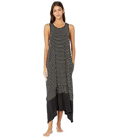 Donna Karan Modal Spandex Jersey Long Gown (Black Stripe) Women