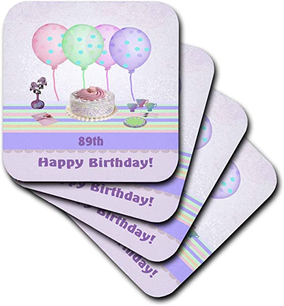 3dRose Beverly Turner Birthday Design 89th White Icing Cake With Balloons And Vase Of Flowers Pastels Set Of 4 Coasters Soft Cst 113286 1