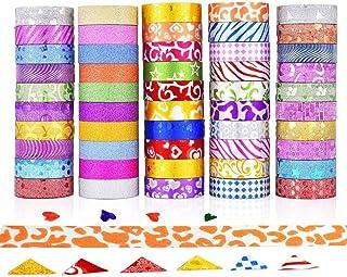 comprar comparacion GCOA 50 Rollos Washi Tape Cinta Adhesiva Washi Glitter Adhesivo de Cinta Decorativa para DIY Crafts Scrapbooking