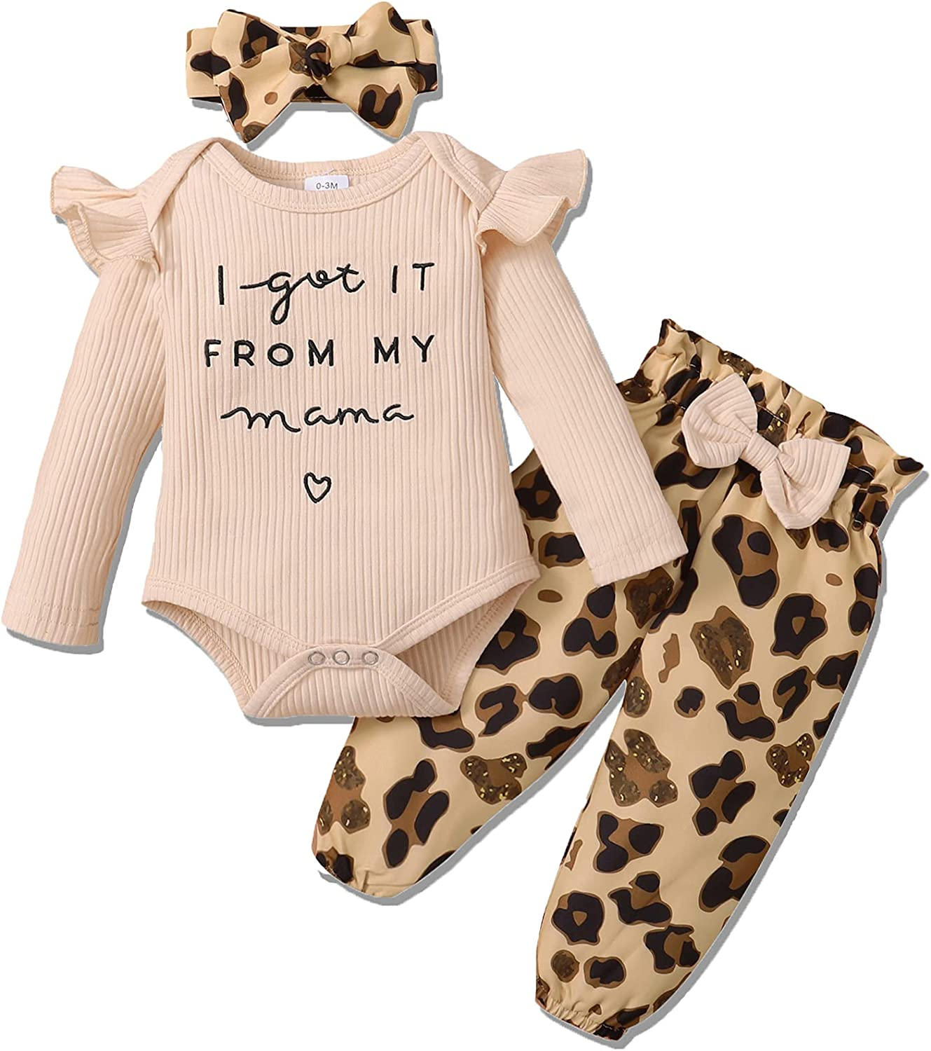 Newborn Baby Girl Clothes, Infant Girl Outfits Long Sleeve Ruffle Romper + Floral Pants + Headband Set…