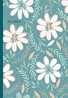 Dual Notebook: Flower Green Cover Half College Ruled / Half Graph 4x4 mixed paper styles on one sheet to get creative: Coordinate, grid, squared, math ... notes, draw sketches, Journal Organizer