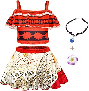 AmzBarley Toddler Girls Swimsuits Two Pieces Swimming Pool Party Swimwear Kids Bikini Bathing Suit with Necklace and Flowe...