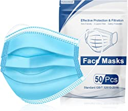 Hotodeal 50 Pcs Disposable Face Masks, 3 Ply Face Masks Disposable Mask-Blue, Breathable Lightweight Facial Masks for Adult, Men, Women, Indoor, Outdoor Use