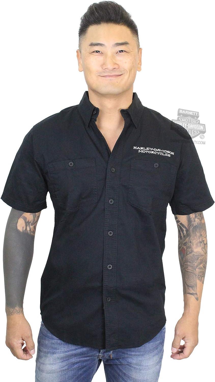 Harley-Davidson Mens Ride Free Wing Black Short Sleeve Woven Shirt