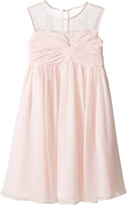Sleeveless Illusion Neckline Chiffon Empire Dress (Little Kids)