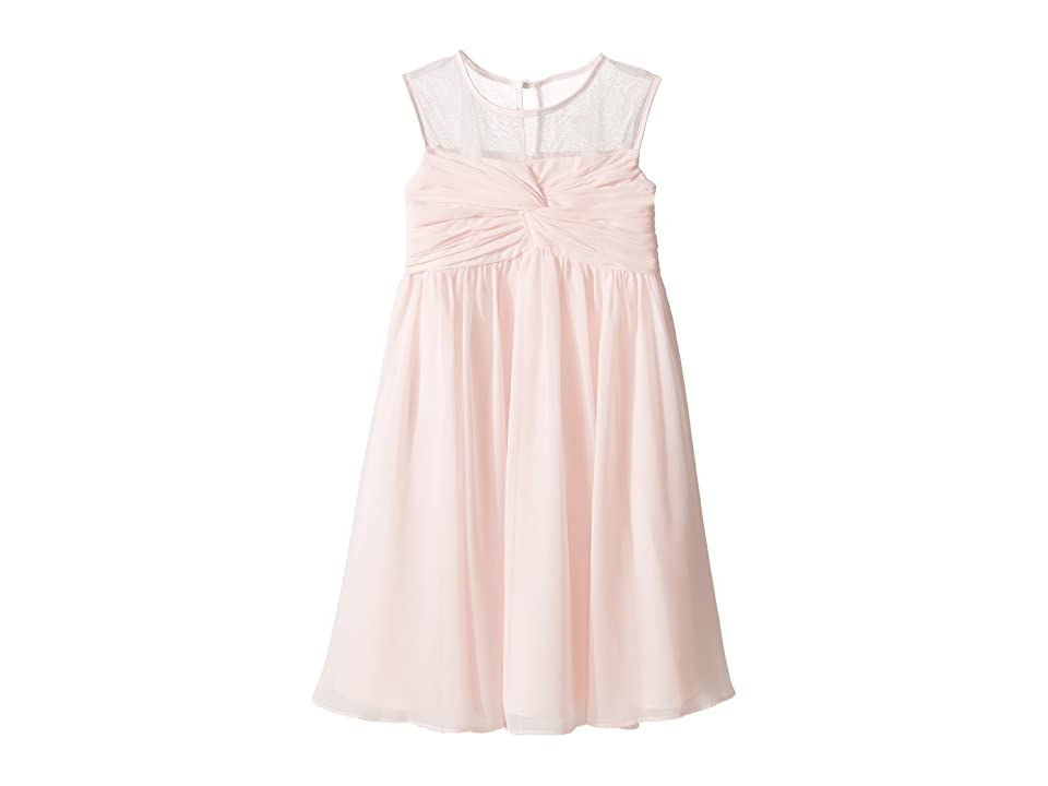 Us Angels Sleeveless Illusion Neckline Chiffon Empire Dress (Little Kids) (Blush) Girl