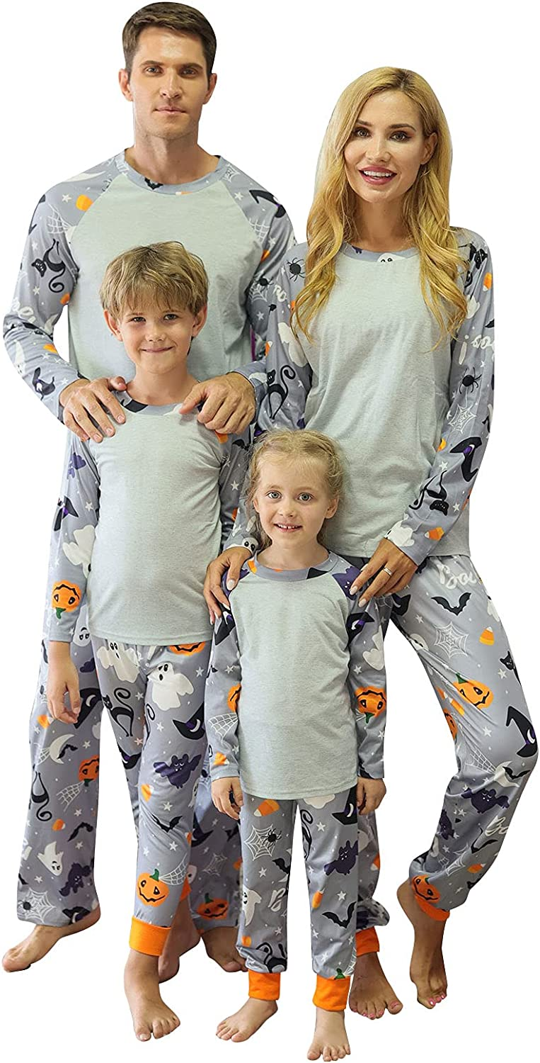 Matching Family Kid Halloween Pajamas Holiday Pjs Sets Boys Girls Christmas PJ's with Tee and Festival Style Pants Loungewear (Gray Dad, X-Large)